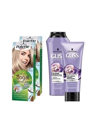 Gliss 2-1 Küllü Buzul Sarısıx2 Adet+Blonde Perfector Mor Şampuan 250Ml+Blonde Perfector Mor Maske 200Ml Renksiz